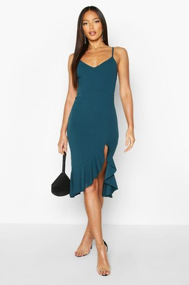 boohoo Strappy Frill Hem Midi Dress