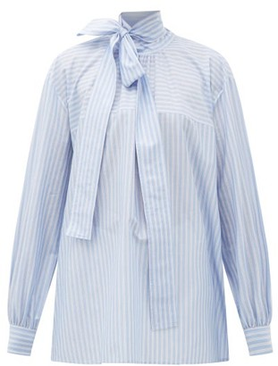 Rochas Pussy-bow Striped Cotton Blouse - Womens - Blue White