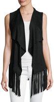 philosophy Faux-Suede Fringe-Hem Vest, Black