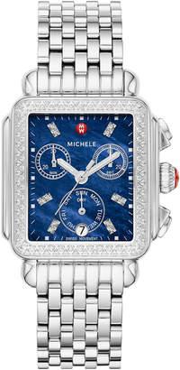 Michele Signature Deco Diamond Watch, Silver/Blue