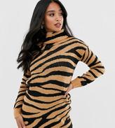 Brave Soul Petite zigby animal print roll neck sweater dress