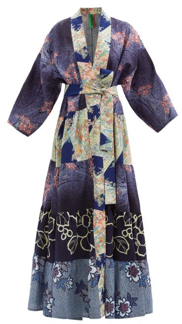 Thumbnail for your product : RIANNA + NINA Patchwork Vintage-silk Robe - Multi