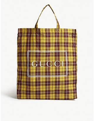 Gucci Cabas check print logo tote bag