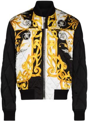 Versace Baroque-print quilted jacket