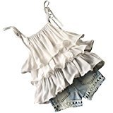 Fheaven Baby Girls Chiffon Pearl Sweet Bandage Multilayer Lace Vest Shirt+Jean Shorts Clothes Set (5/6T)