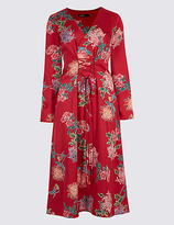 Limited Edition Floral Print Satin Swing Midi Dress