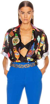 Versace Short Sleeve Print Shirt in Black & Multi | FWRD
