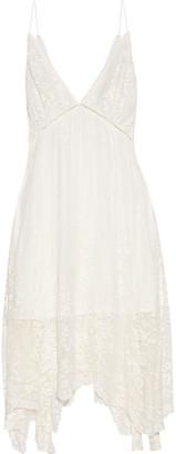 Zimmermann Asymmetric Embroidered Silk-georgette Dress