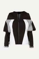 Prada Hooded Rubber-appliquéd Color-block Gabardine Jacket