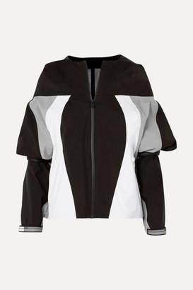 Prada Hooded Rubber-appliqued Color-block Gabardine Jacket - Gray