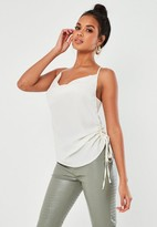 Missguided Ivory Ruched Side Cowl Neck Cami Top
