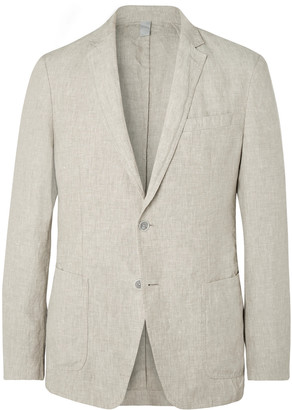 HUGO BOSS Beige Hanry Slim-Fit Unstructured Linen Suit Jacket