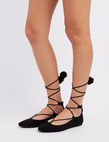 Charlotte Russe Bamboo Lace-Up Pom-Pom Pointed Toe Flats