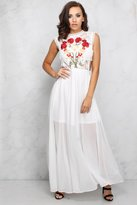 Rare White Multi Floral Embroidered Maxi Dress