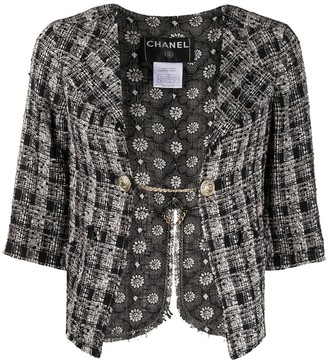 Chanel Pre Owned Cropped Tweed Blazer