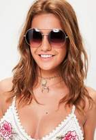 Missguided Silver Round Gradiant Lenses Sunglasses, Grey