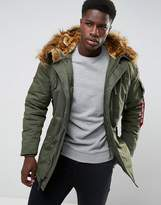 Alpha Industries Polar Parka Jacket Detachable Faux Fur Trim In Green