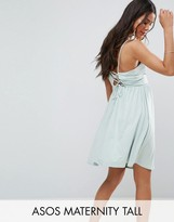 Asos TALL Lace Up Back 90s Skater Dress