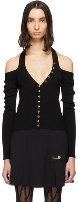Versace Black Accent Knit Cut-Out Top