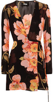 Reformation Floral-print Georgette Wrap Mini Dress - Black