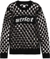 Alexander Wang Flocked Mesh And Intarsia Wool-blend Sweater - Black