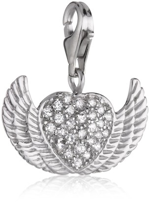 Pasionista Charms Pendant 925 Sterling Silver Cluster Heart with Angel Wings Charm