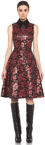 Embroidered Tulle Dress in Red & Black Floral
