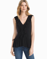 White House Black Market Sleeveless Black Ruffled Top