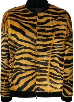 Salvatore Santoro zebra print fur bomber jacket