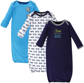 Hudson Baby Boys' Infant Gowns Cool - Blue & Navy 'Cool Little Dude' Gown Set - Newborn