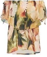 Haute Hippie Off-The-Shoulder Layered Floral-Print Crepe De Chine Blouse