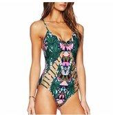 BellyLady Womens Floral One Piece Swimsuit Bathing Swimwear Monokini Push Up Padded L