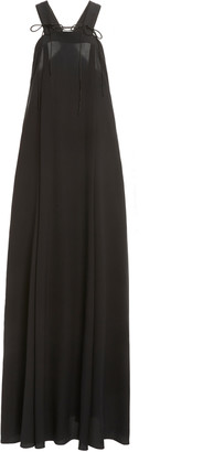 Victoria Beckham Tie-Detailed Draped Silk Maxi Dress