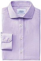 Charles Tyrwhitt Slim Fit Spread Collar Non-Iron Dobby Check Lilac Cotton Dress Casual Shirt Single Cuff Size 17/33
