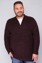 Yours Clothing BadRhino Wine Knitted Jumper With Zip Funnel Neck - TALL
