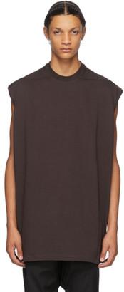 Rick Owens Burgundy Tarp Sleeveless T-Shirt