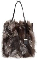 Michael Kors Large Eleanor Genuine Fox Fur Tote - Metallic