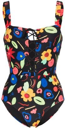 Onia raquel floral-print swimsuit