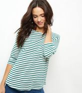 New Look Green Stripe 3/4 Sleeve Top