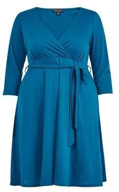 Dorothy Perkins Womens **Dp Curve Teal Blue Wrap Dress, Blue