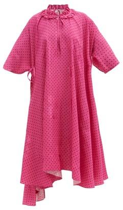 Balenciaga Ruffle-neck Polka-dot Jacquard Crepe Dress - Pink Print