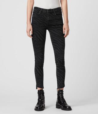 AllSaints Grace Seebra Ankle Skinny Mid-Rise Jeans, Black