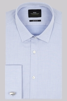 Moss Bros Extra Slim Fit Sky Blue Double Cuff Textured Shirt