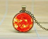 SunShine Day Sun Pendant Sun Necklace Galaxy Necklace Space Pendant Sun Orange Jewelry Necklace Glass Cabochon Necklace A1022