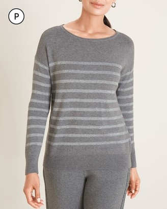 Zenergy Petite Cotton-Cashmere Blend Lurex Stripe Sweater