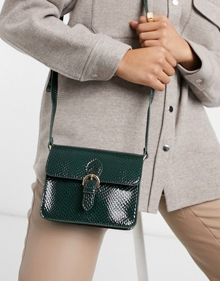 ASOS DESIGN satchel in green snake