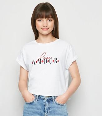 New Look Girls Love Amour Flocked Slogan T-Shirt