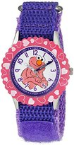 EWatchFactory Girl's 'Sesame Street' Quartz Stainless Steel and Nylon Automatic Watch, Color:Purple (Model: W003187)