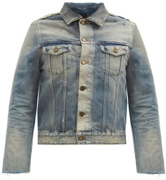Saint Laurent Distressed Denim Jacket - Blue