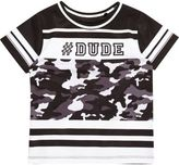 River Island Mini boys black '#dude' print mesh T-shirt
